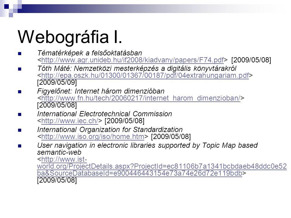 Webográfia I. Tématérképek a felsőoktatásban <http://www.agr.unideb.hu/if2008/kiadvany/papers/F74.pdf> [2009/05/08]
